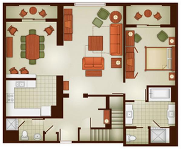 Grand Floridian 2 Bedroom Villa Floor Plan on Disney Wilderness Lodge 2 Bedroom Villa Floor Plan