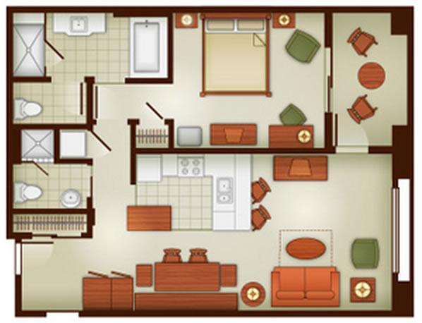 Grand Floridian 1 Bedroom Villa Floor Plan: Grand Californian Hotel & Spa