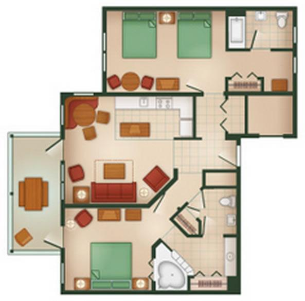 hilton-head-resort two-bedroom layout